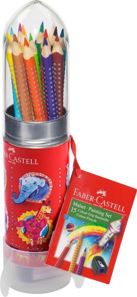 Faber Castell Color Grip Tin Raket 15 Assorteret + Spidser
