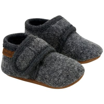 Enfant Baby Wool Slippers Dark Grey