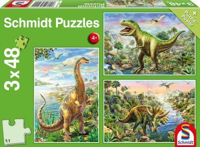 Schmidt Puzzle 3x48 Dinosaur
