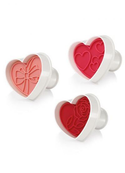 Tescoma Cookie Cutter with Stamp 3 PCS Hearts