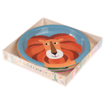 RL Paper Plates Round Colorful creatures