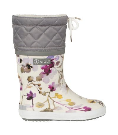 AIGLE Thermo Rubber Boots Off White Giboulee WILDFLOWER
