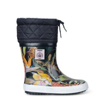 AIGLE Thermo Rubber Boots Black Giboulee KEW GARDEN
