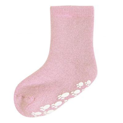 JOHA Wool Socks w.Anti-slip Rosa