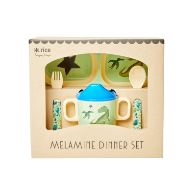 Rice Melamin Baby Spisesæt Green DINOSAURS
