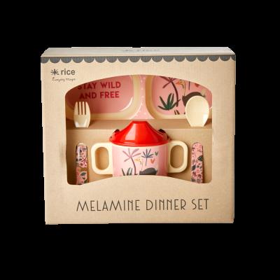Rice Melamin Baby Spisesæt Pink JUNGLE ANIMALS